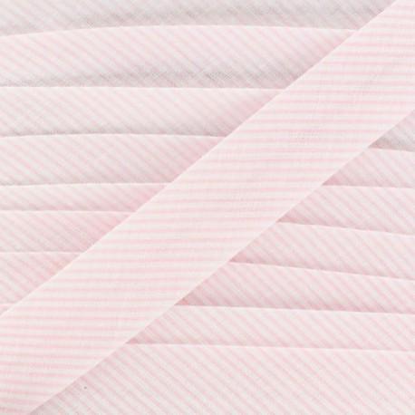 Biais coton mini rayé rose