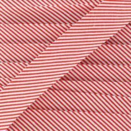 Biais coton mini rayé rouge