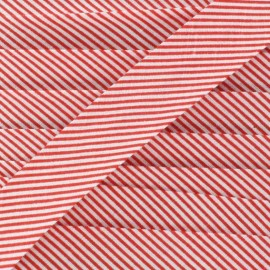 Cotton bias binding, mini stripes - red