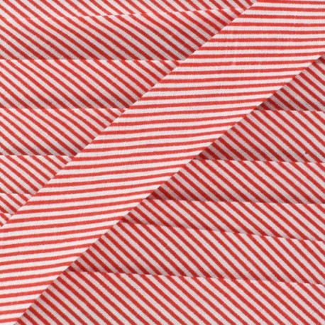Cotton bias binding, mini stripes - red