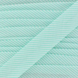 Cotton bias binding, mini stripes - pearl aqua