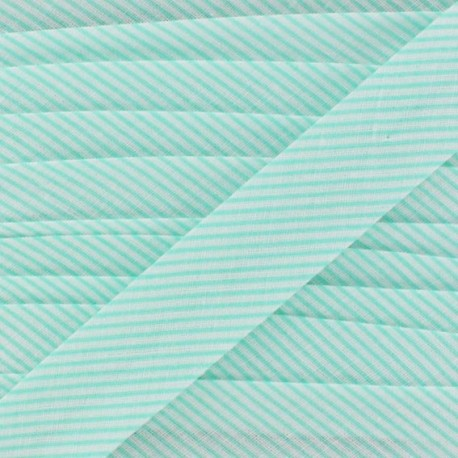 Biais coton mini rayé menthe à l'eau