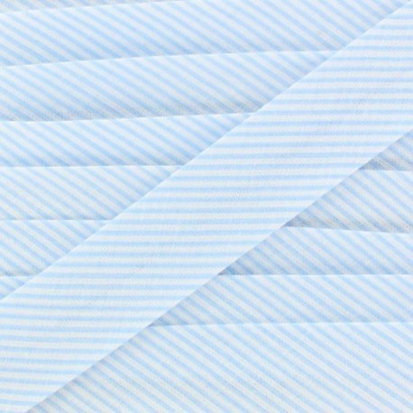 Biais coton mini rayé bleu ciel