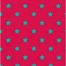 Little stars cotton fabric - fuchsia x 10cm