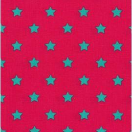 Tissu coton petites étoiles fuchsia x 10cm
