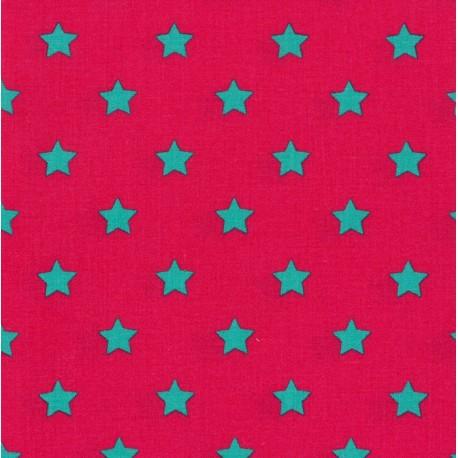 Little stars cotton fabric - fuchsia x 10cm