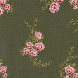Blossom coated Cotton fabric - khaki x 10cm