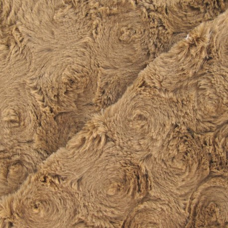 Fourrure fantaisie rosace brun x 10cm