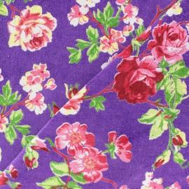 d66e12ec27fa Tissu Velours ras fleuri violet x 10cm - Ma Petite Mercerie