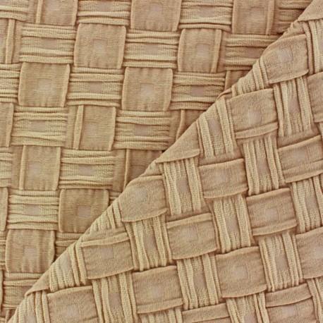 Tissu jersey uni Beige effet natte
