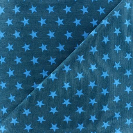 tissu velours milleraies toiles turquoise fond bleu canard x 10cm ma petite mercerie. Black Bedroom Furniture Sets. Home Design Ideas