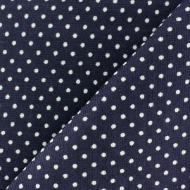 Milleraies white dots velvet fabric - navy background x10cm
