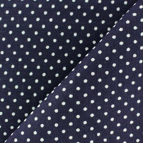 Tissu velours milleraies à pois blanc fond marine x 10cm