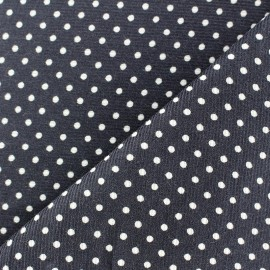 Milleraies white dots velvet fabric - grey background x10cm
