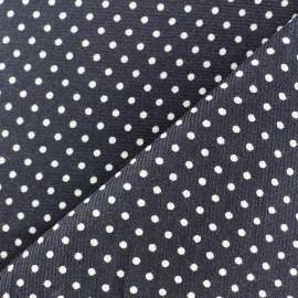 Tissu velours milleraies à pois blanc fond gris x 10cm