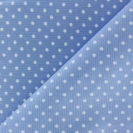 Tissu velours milleraies à pois blanc fond bleu ciel x 10cm