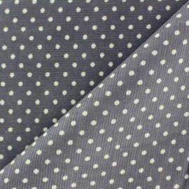 Milleraies white dots velvet fabric - mouse grey background x10cm
