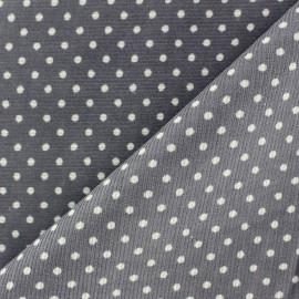 Tissu velours milleraies à pois blanc fond gris souris x 10cm