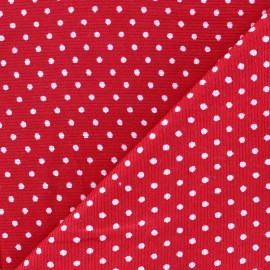 Milleraies white dots velvet fabric -red background x10cm