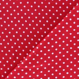 Tissu velours milleraies à pois blanc fond rouge x 10cm