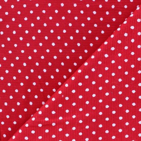 Milleraies white dots velvet fabric -red background x10cm