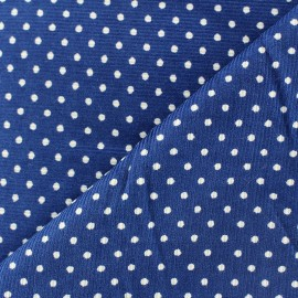 Milleraies white dots velvet fabric - royal blue background x10cm