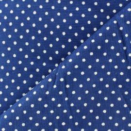 Tissu velours milleraies à pois blanc fond bleu roy x 10cm