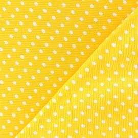 ♥ Coupon 10 cm X 150 cm ♥ Tissu velours milleraies à pois blanc fond jaune