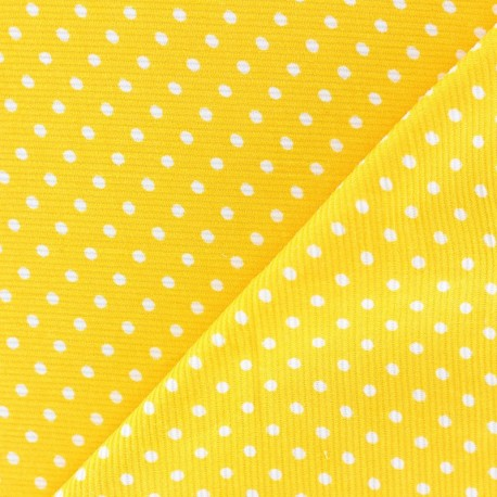 Milleraies white dots velvet fabric - yellow background x10cm