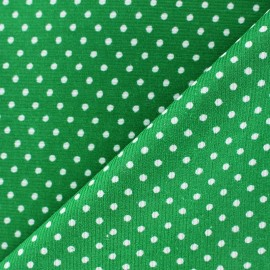 Milleraies white dots velvet fabric - green background x10cm