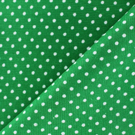Milleraies white dots velvet fabric - green background x10cm