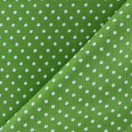 Tissu velours milleraies à pois blanc fond vert prairie x 10cm