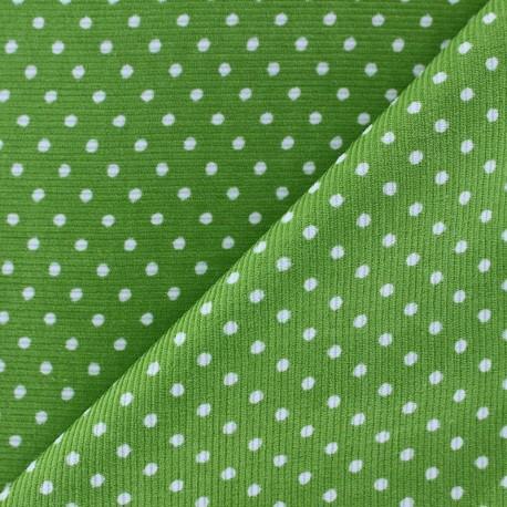 Milleraies white dots velvet fabric - lime background x10cm