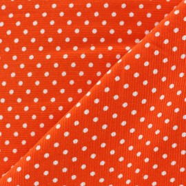 Tissu velours milleraies à pois blanc fond orange x 10cm