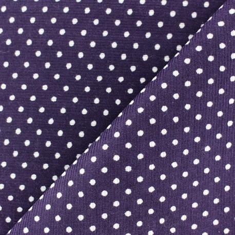 Fabric velours milleraies à pois blanc fond violet x 10cm