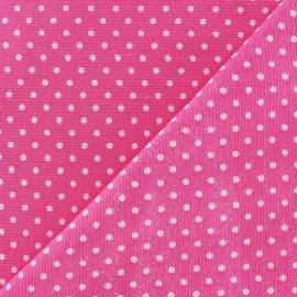 Tissu velours milleraies à pois blanc fond rose x 10cm