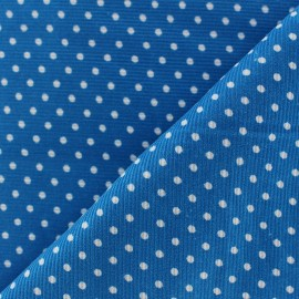 Milleraies white dots velvet fabric - turquoise background x10cm