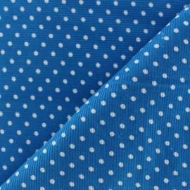 Tissu velours milleraies à pois blanc fond turquoise x 10cm