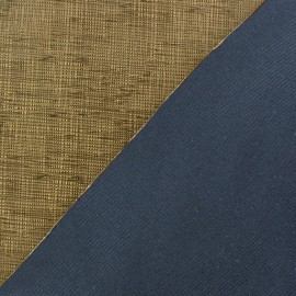 Tissu polyester imprimé effet enduit bleu acier x 10 cm