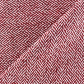 Tissu lainage petit chevron rouge x 10cm