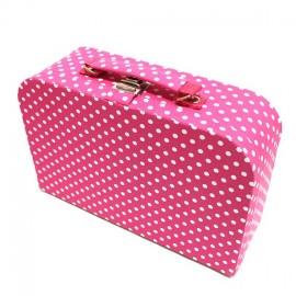 Grande boîte à couture en tissu fuchsia