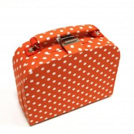 Petite boîte à couture en tissu orange