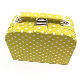 Petite boîte à couture en tissu jaune