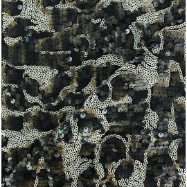 ♥ Coupon 150 cm X 140 cm ♥  Sequin Lycra Fabric - Black/Brown