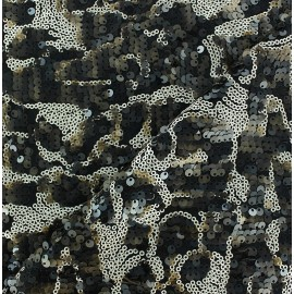 Sequin Lycra Fabric - Black/Brown x 10cm
