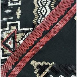 Tissu Viscose Paillettes Aztec Beige / Carmin x10cm