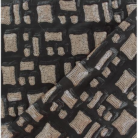Tissu Lycra Paillettes Noir / Marron x10cm