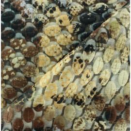 Tissu Organza brodé serpent  x 10cm