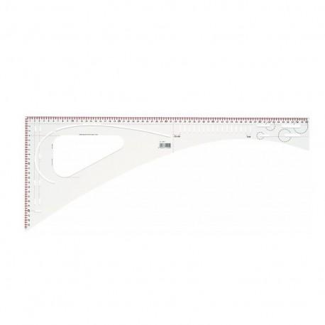 Dressmaker's ruler, graduated 60,5 x 24,5 cm - transparent