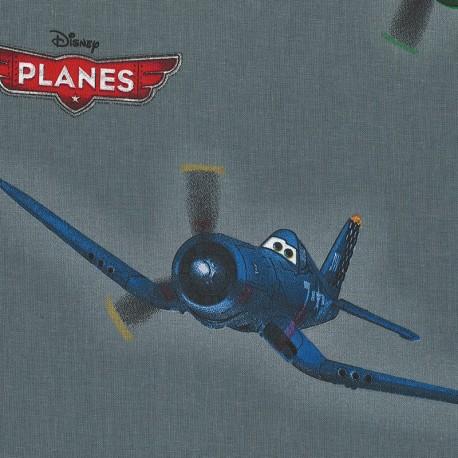 Cotton Fabric Disney Planes - Grey x 63cm